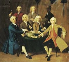 About the Wine - 1743 Benjamin Franklin on making American wine from local grapes.  British gentlemen drinking and smoking pipes round a table in an interior, a SERVANT bearing a bowl of punch by an unknown artist