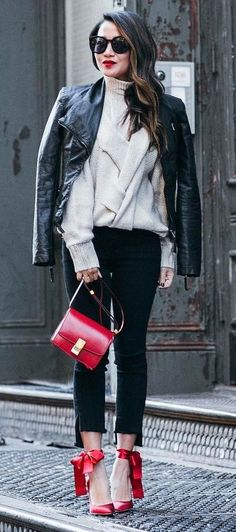 amazing fall outfit / leather jacket + knit sweater + skinnies + red details