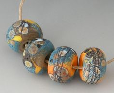 Rustic Sedona Pairs - (4) Handmade Lampwork Beads - Black, Blue, Apricot - Etched, Matte, Tumbled