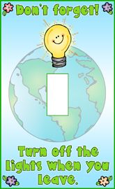 You can help kids (& adults) remember to GO GREEN with our adorable light switch plate cover!!!  This darling FREEBIE comes in both color and black & white.  Just print a few on a page, cut and tape to the light switch plates as a friendly reminder for people to turn out the lights!  :)  Great for classroom, office or home! Freebie available until 4/15/15. Get yours while you can... and check out our other Earth Day deals!