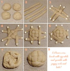How To Braid A Round Challah (7 - pinch ends together on top. 8 - flip it over!)