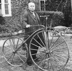 Englishman James Moore (in later life) with the Eugène Meyer-designed French Spider tension-wheel bicycle, on which he had set the first world distance record for cycling: miles in one hour Old Bicycle, Old Bikes, Vintage Cycles, Vintage Bikes, James Moore, Indoor Track, Antique Bicycles, Bicycle Painting, Penny Farthing