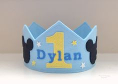 Baby Mickey inspired Felt Crown, Birthday Crown, Mickey Mouse, First Birthday, Boy by pixieandpenelope on Etsy https://www.etsy.com/listing/228056903/baby-mickey-inspired-felt-crown-birthday