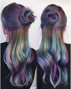 Peacock hair color, unicorn hair color, brown hair unicorn, mermaid hair co Peacock Hair Color, Unicorn Hair Color, Brown Hair Unicorn, Beautiful Hair Color, Cool Hair Color, Amazing Hair Color, Under Hair Color, Hidden Hair Color, Oil Slick Hair Color
