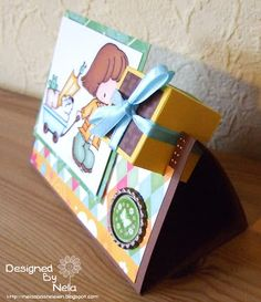 Nelasbasteleien: Parcel card with template Paper Art, Paper Crafts, Box Bag, Boxes, Presents, Gift Wrapping, Templates, Cards, Gifts