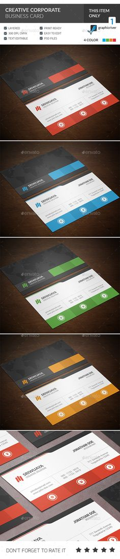Creative Corporate Business Card Template PSD #visitcard #design Download: http://graphicriver.net/item/creative-corporate-business-card/13434609?ref=ksioks