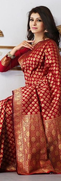 136856 Red and Maroon color family Party Wear Sarees in Banarasi,Silk fabric with Thread work with matching unstitched blouse. Banarsi Saree, Silk Sarees, Lehenga, Anarkali, Saris, Silk Saree Kanchipuram, Collection 2017, Saree Collection, Indian Dresses