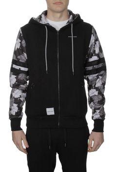 Mens Fremont Harris Black Designer Zipped Hoodie Floral Print Sleeve Size s XL | eBay