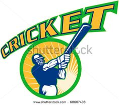 vector illustration of a cricket sports batsman batting isolated on white - stock vector Cricket World Cup, Retro Illustration, Logos, Sports, Design, Hs Sports, Logo, Excercise, A Logo