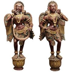Pair of Wooden Indian Angels circa 1800 | From a unique collection of antique and modern sculptures at https://www.1stdibs.com/furniture/decorative-objects/sculptures/
