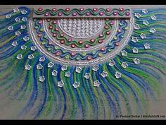 Diwali special easy peacock feather rangoli   Innovative rangoli design by Poonam Borkar - YouTube