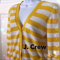 J. Crew Striped Cardigan Super cute striped yellow and white cardigan! V-Neck(: J. Crew Sweaters Cardigans