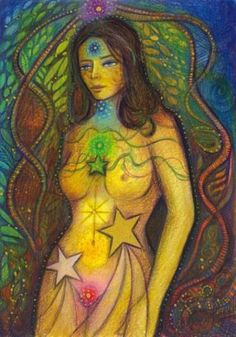 Chakras. I have this painting by Toni Salerno. It's been daily inspiration for 7 years now, I call her my Chakra Woman.