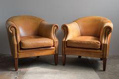 Vintage Cowhide Club Chairs, Set of 2 1