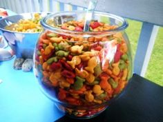 Goldfish crackers in fishbowl (w/pic from book)