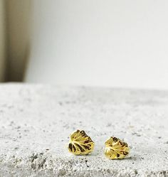 Solid 22k gold studs tiny leaf posts 22k and 18k solid gold