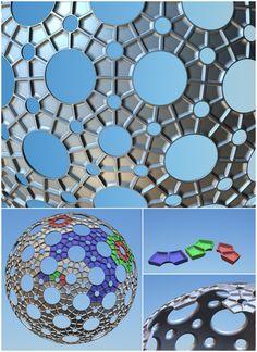 3 modular geodesic building bricks, Modular Fly's Eye Dome, Pentakis snub dodecahedron, Robert Clark