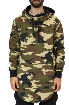 Elongated Cowl Neck Hoodie in Camo – Fashion X Freedom