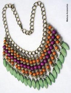 Collar piedras Beautiful Earrings, Beautiful Necklaces, I Love Jewelry, Jewelry Design, Maxi Collar, Beaded Jewelry, Jewelry Necklaces, Diy Necklace, Boho