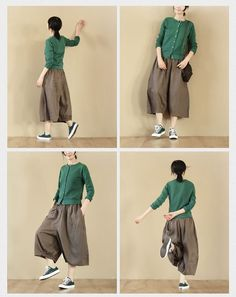 Image of Loose Linen Coffee Women Fashion Pants LR725