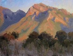 """Tucson Arizona Catalina Mountains afternoon plein air painting"" - Original Fine Art for Sale - © Becky Joy"