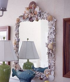 sea shell mirror frame - i have the shells from all our trips around each beach we went to in australia and always wanted to make a mirror frame but never did.