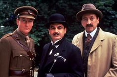 David Suchet (Poirot), Hugh Fraser (Hastings) and Philip Jackson (Japp) in The Mysterious Affair at Styles, set in 1917.