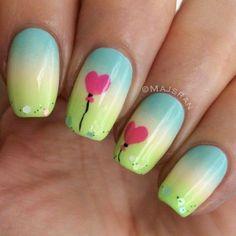 Cute Heart Balloon nails