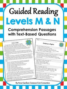 Differentiate with Reading Comprehension Passages by Guided Reading Level ~ Currently available for Guided Reading Levels C - N.  ($)