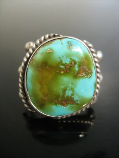 Vintage Manassa turquoise sterling silver ring