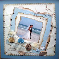 Beach wedding.  #Scrapbooking Wedding Layout.  Falling in Love Layout.  Love layout.  In love layout.