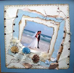 Beach wedding. #Scrapbooking Wedding Layout. Falling in Love Layout. Love layout. In love layout.