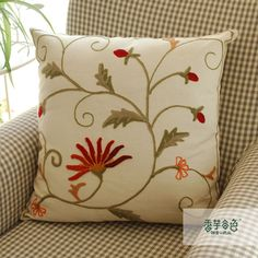 African Daisy Embroidery Pillow