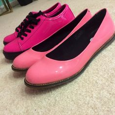 Dr. Martens Spin Lace to Toe hot pink oxfords (currently on sale for $49.94 from DSW, regularly $89) and Dr Martens Marie Ballet Flats