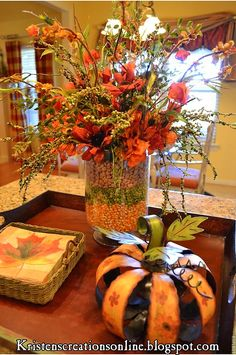 Fall Table Centerpiece idea - love this - corn, lentils & pinto bean