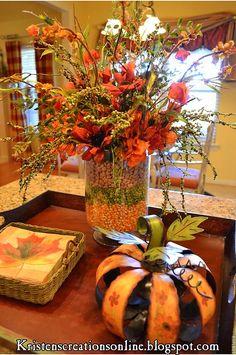 Fall Table Centerpiece idea - love this - corn, lentils & pinto bean