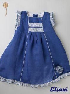 Vestido Niña Lino Azulón - Primavera-Verano - Colección - Tienda de ropa infantil Eliam