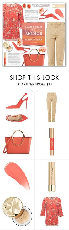 """How to wear Khaki Trousers!"" by disco-mermaid ❤ liked on Polyvore featuring Sergio Rossi, Topshop, MANGO, Estée Lauder, Burberry, Stila, Bare Escentuals, Vanity Fair, M&Co and Ross-Simons #sergiorossimermaid"