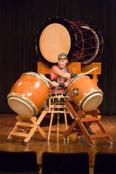 Kenny Endo on a Taiko drum set ...