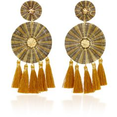 Mercedes Salazar Yui Negro Earrings (725 PEN) ❤ liked on Polyvore featuring jewelry, earrings, gold, round earrings, tassel jewelry, horse jewellery, mercedes salazar and tassel earrings