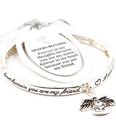 BRACELET / BANGLE / RELIGIOUS / HOOP / ANGEL / ENGRAVED / FOREVER IN MY THOUGHTS BECAUSE YOU ARE MY SISTER FOREVER IN MY HEART BECAUSE YOU ARE MY FRIEND / 2 1/2 INCH WIDTH / SILVER /