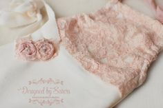ANABELLE Vintage lace romper and tieback - baby girl photo prop - newborn prop…