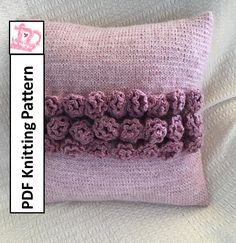 """PDF KNITTING PATTERN, knit pillow cover pattern, rose knitting pattern, 16""""x16"""", cushion cover knitting pattern by LadyshipDesigns on Etsy"""