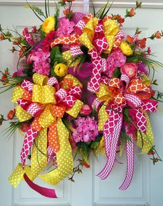 Whimical Ribbon Mesh Spring and Summer Wreath by WilliamsFloral