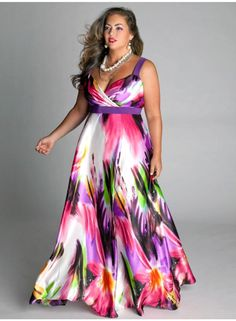 baafb589f013 Tropical Beauty Plus Size Maxi Dress Moda Fashion