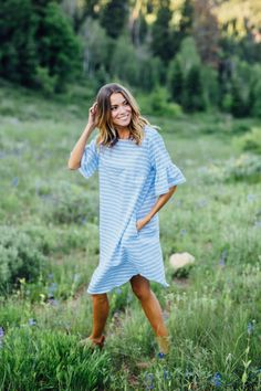 Bell Midi Dress in Blue | CLAD & CLOTH – cladandcloth