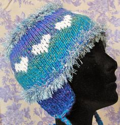 OOAK Blue Turquoise Purple Hearts Hand Knit Bomber Ear Flap Hat by JustAMomFromNH