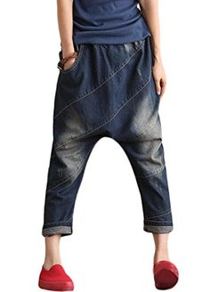 Minibee Womens Drop Crotch Casual Jean Pants Style 2 Blue -- You can get additional details at the image link.