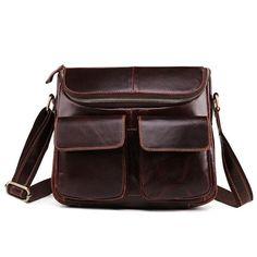 c7ff0e8d2b6a Genuine Leather Retro Postman Crossbody Bags Casual Briefcase Oil Wax  Shoulder Bag For Men is hot-sale