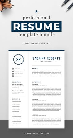 Professional resume template bundle with 5 designs that fit various needs: Clean and modern resumes with a neutral look, perfect for any occasion. Compact resume that you can fill with a lot of content. Resume with a monogram for added visual impact. Resume with a photo in case you need it. Build a resume that is informative, visually attractive, easy to navigate, and showcases your skills and experience in an elegant and effective way. One Page Resume Template, Modern Resume Template, Creative Resume Templates, Creative Cv, Cover Letter For Resume, Cover Letter Template, Resume References, Microsoft Word 2007, Thing 1